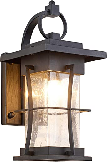 Amazon Com Eeru Waterproof Outdoor Wall Sconce Light Fixtures Exterior Wall Lantern Outside House Lamps Black Metal With Clear Seeded Glass Perfect For Exterior Porch Patio House Home Improvement