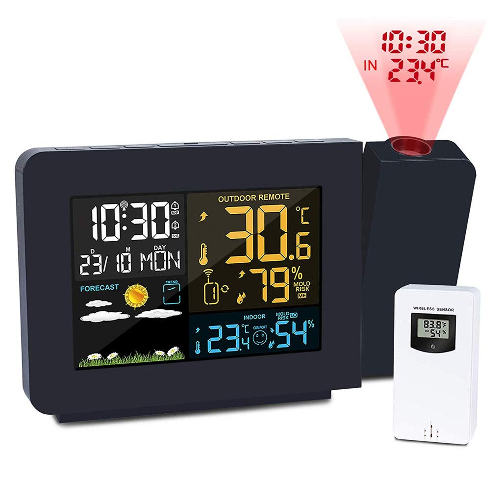 YDHBD Projection Alarm Clock, Meteorological Weather Station with Indoor Outdoor Sensor, Projector Dimmable Radio Clock Dual Alarms LCD Display Date Time Temperature Humidity by YDHBD