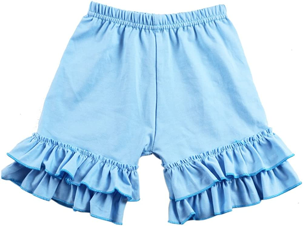 Wennikids Baby Girl Double Ruffle Cotton Girl Shorts: Clothing