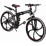 Hua 26 Inch Folding Mountain Bike with 21 Speed | Adults Bicycle Mountain Bike for Women Men | Dual Disc Brakes Full Suspensi