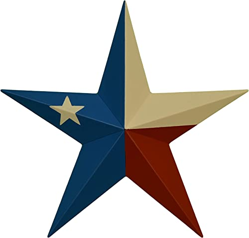 AMISH WARES 53 Inch Heavy Duty Metal Barn Star Painted Solid Texas Flag.