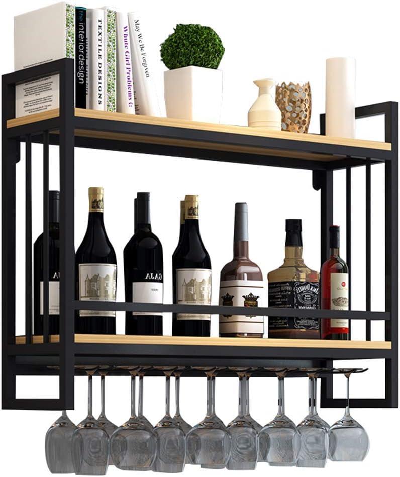 ワインラックウォールマウントウッドメタル| ぶら下げワイングラスホルダー| ガラスホルダー付きワイン棚| 中断されたワインボトルホルダー| ワイン棚木製収納ユニット、