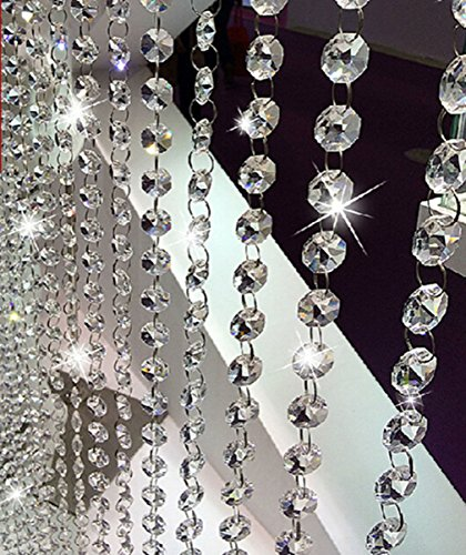 V-look 10.5 Feet Clear K9 Crystal Chandelier Prism Lamp Octagon Bead Chain christmas Wedding Pendant by V-look