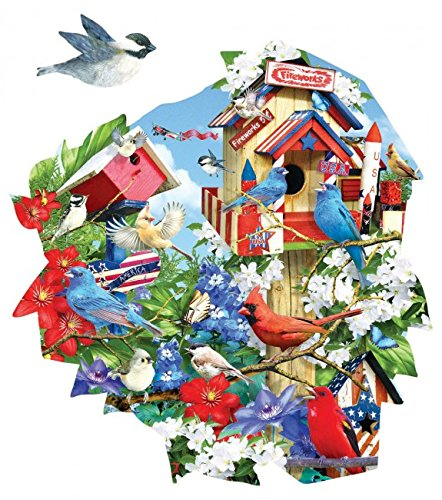 Birdhouse Celebration Shaped - Patriotic Birds Puzzle - 1000 Piece Jigsaw Puzzle by SunsOut