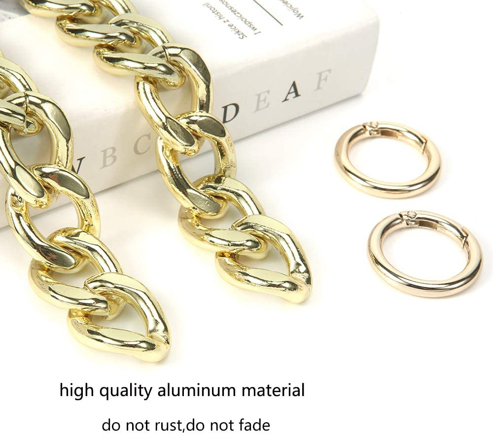 Light Gold Xiazw DIY Heavy Chunky Aluminum Metal Purse Handle Bag Chain Charms Strap Replacement Handbag Accessories Decoration