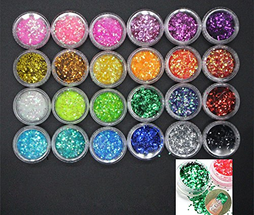 XICHEN 24 Pcs/Colors Glitter Powder Dust Nail Art Tip Decoration