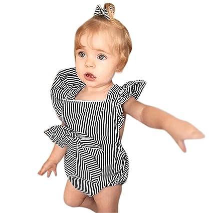 ASHOP Bebé Monos, Mono con volantes y rayas con volantes de niñas pequeñas recién nacido Mono Manga Corta Bodies Ropa Bebe niña Verano Moda Conjunto Bebé: ...