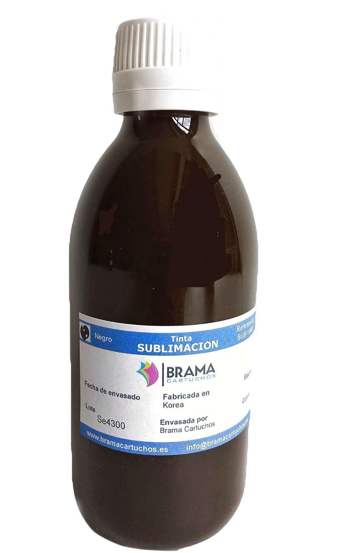250ML DE Tinta DE SUBLIMACIÓN. Compatible con IMPRESORAS EPSON DE 4 Colores BRAMACARTUCHOS (Negro)