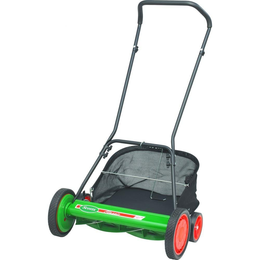 Manual Walk Behind Reel Mower with Grass Catcher + Sharpening Kit : Garden  & Outdoor