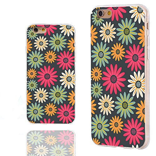 iPhone 6s Case,iPhone 6 Case,Case for iPhone 6 6s 4.7 Inch,ChiChiC [Elegance Series] Full Protective Slim Flexible Durable Soft TPU Cases,Yellow red Teal Blooming Daisy Floral Pattern