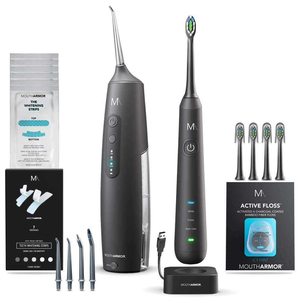 MouthArmor Bundle electric toothbrush and water flosser, whitening strips, dental floss