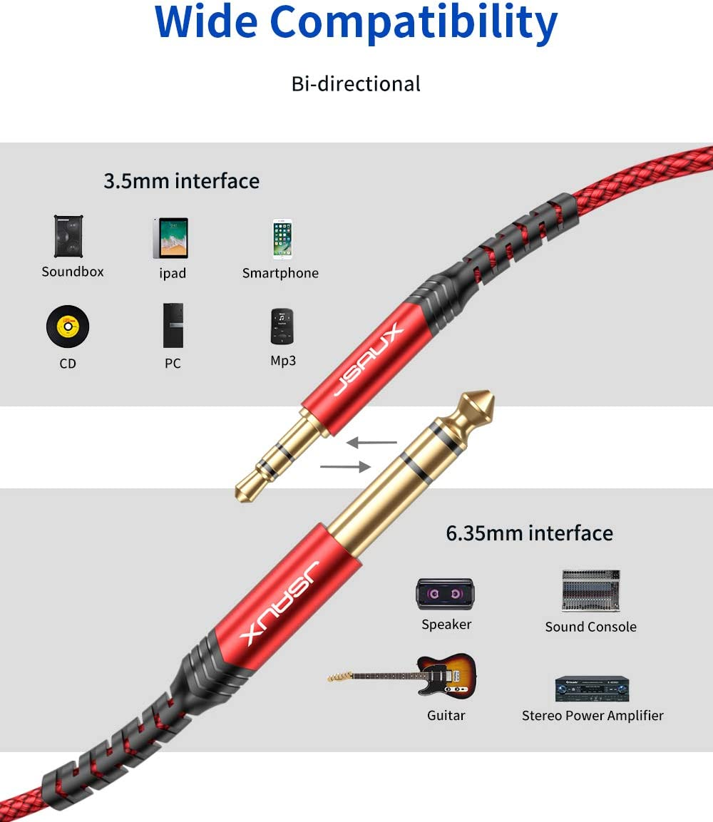 iPod Home Theater Devices Speaker and Amplifiers-Red 3.5mm to 6.35mm Stereo Audio Cable Laptop JSAUX 6.35mm 1//4 Male to 3.5mm 1//8 Male TRS Bidirectional Stereo Audio Cable Jack 4FT for Guitar