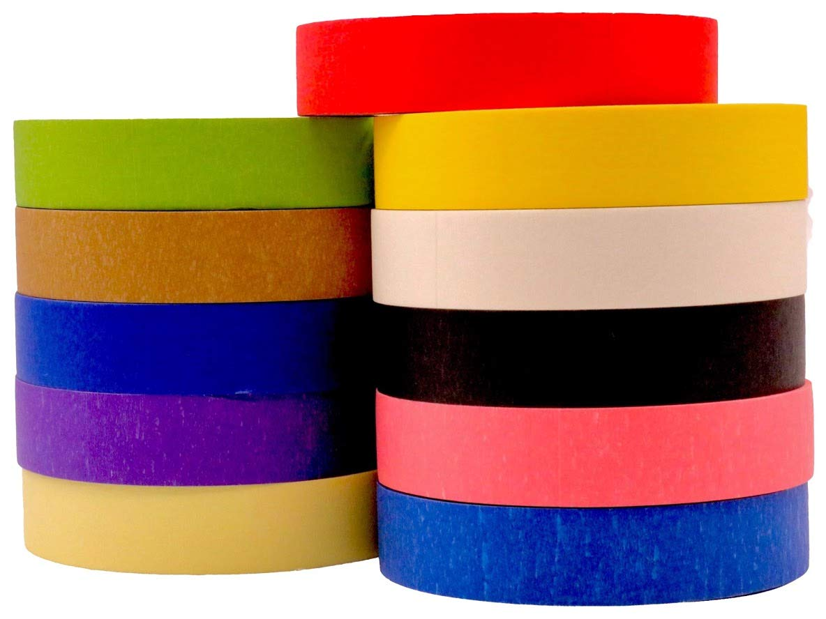 Multi Colored Pro-Grade Masking Tape 1 Inch x 60 Yards Rolls 11 Pack = 660 Yards Great for Crafts, Painting, Packing and Labeling. No Residue: Industrial & Scientific