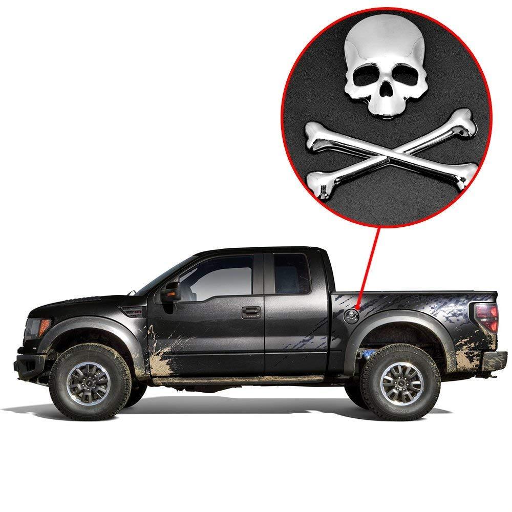 GIVBRO 3D Skull Demon Bone Crossbone Badge Emblem Sticker Decoration Rear Front Roof Fender Hood For Car Jeep Dodge Ford Honda Toyota
