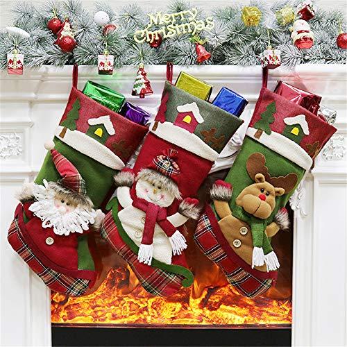 YAMUDA Big Size 18″ Christmas Stockings, 3 Pcs Set Classic Christmas Socks Decoration Kids Gift Holding Stocking Christmas Tree Hanging Ornament (Xmas-06)