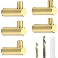 BSTKEY Pack van 5 gouden messing decoratieve haken, wandhaken handdoekhaak, kapstok hangers houder, L-vormige