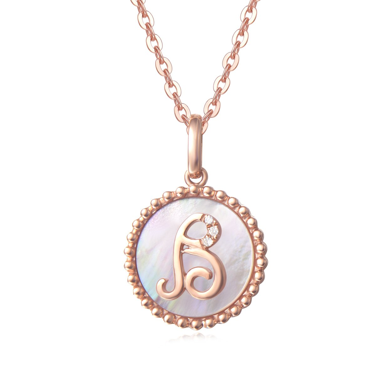 18 Solid 14K Gold Chain Solid 14K Rose Gold Small Initial Dainty Pendant Necklace Carleen Alphabet Letter Coin Pendant Necklace Set with Mother of Pearl Round Diamonds Fine Jewelry for Women Girls