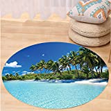 VROSELV Custom carpetOcean Decor Relax Beach Resort Spa Palm Trees And Sea Bedroom Living Room Dorm Decor Round 72 inches