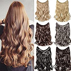 """[Promo] 20"""" Curly Secret String Flip On No Clip Hair Extensions Natural Hidden Wire Fish Line Synthetic Hairpieces Adjustable Blackarent Wire Light Brown & ash Blonde"""