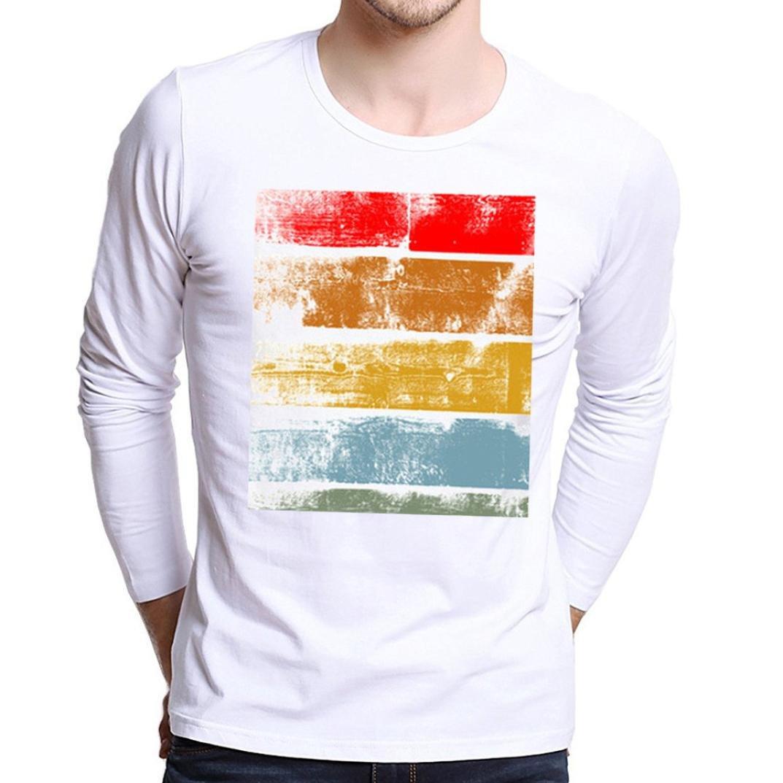 3570de12e Amazon.com  WM   MW Fashion Boys Men s Tees Shirt White Plus Size Long  Sleeve Modal Colorful Graphic Printing Pullover T Shirt Tops  Clothing