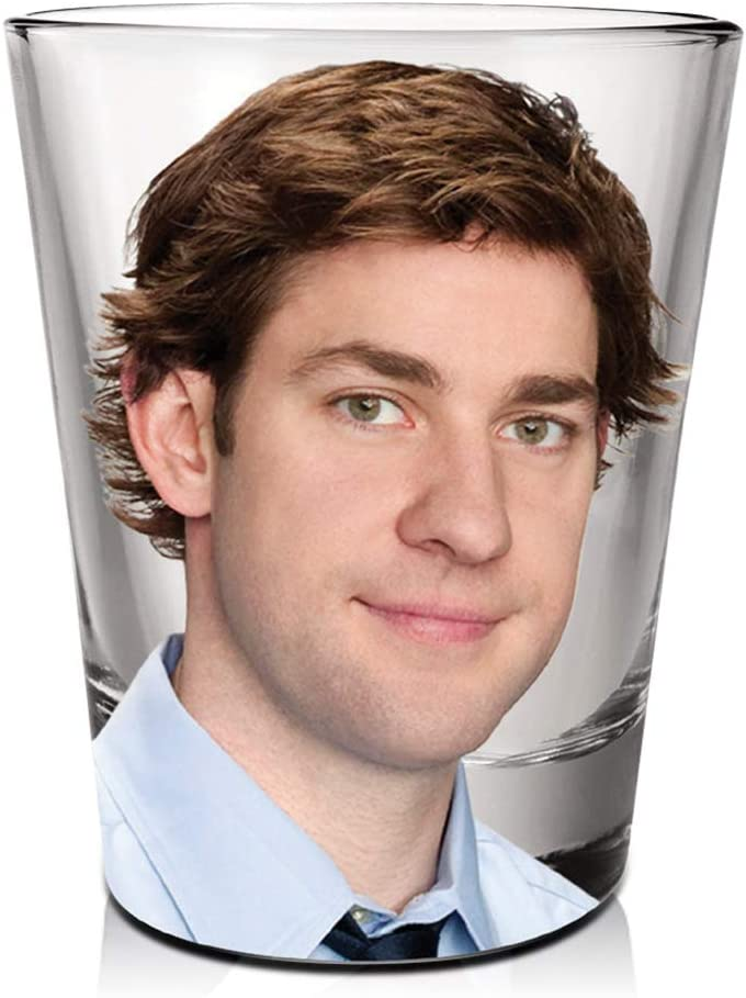The Office Jim Halpert Shot Glass [CLEAR 1.5oz] Vodka, Tequila, Whisky and Liqueurs Shot Glass, Heavy Base Shot Glass (OFFICIALLY LICENSED), By Just Funky