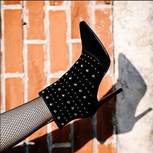 Versátil Black Femeninos La High Solo Botas Heeled KHSKX Y Caer Imitación Personalidad Nueva Multa Mate Cuero Europeas Y Zapatos Remaches A Cortas Señaló Americanas adnwBgRq