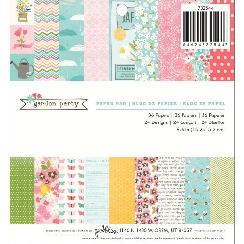 Pebbles 36-Sheet Garden Party Paper Pad, 6 by 6-Inch