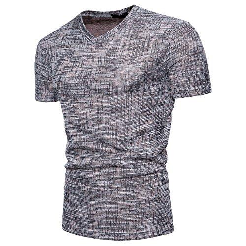 Uomo T Corte A Grigio shirt shirts Sciolto Maniche Showu T V Scollo Con qTSdEnEBxw