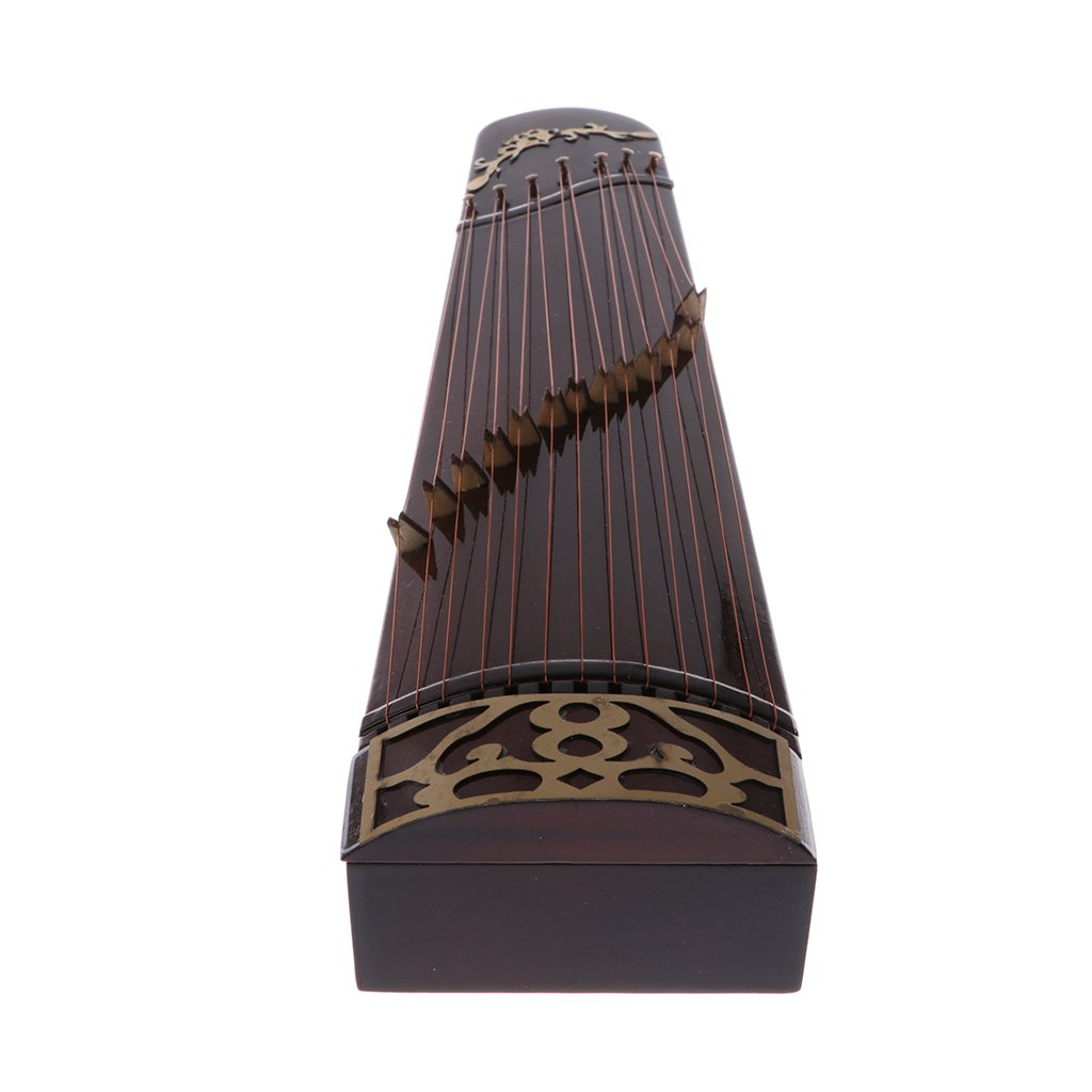 Homyl 25cm Wooden Guzheng Chinese Zither Plucked Instrument with Box and Stand