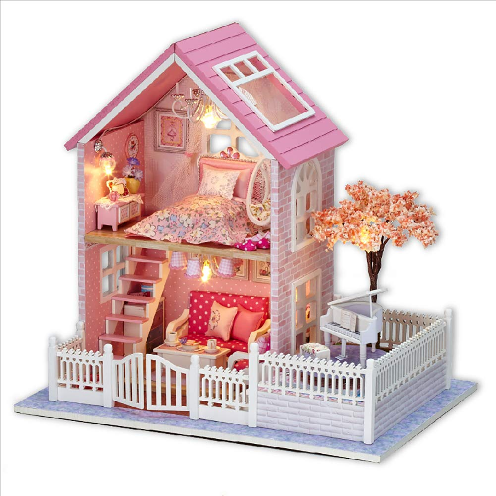 DIY Dollhouse Kit, BicycleStore 1:24 Scale Wooden Miniature Dollhouse Kits with LED Light and Music Box Pink Mini 3D Doll House Furniture Model Accessories Home Decoration Gift for Adults Kids