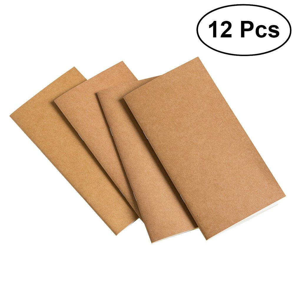 12Pcs Cuaderno Kraft Vintage Notebook NotePad de Steno Memo Mini Diario Notebook, Páginas en blanco, 15.5 x 8.6 cm NUOLUX