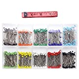 Dreamtop 1000pcs 38mm Glass Head Pins Sewing Pins Straight Pins for Jewelry Wedding Dressmaking Components Flower Decoration with 1pc Soft Tape Measure, 10 Colors