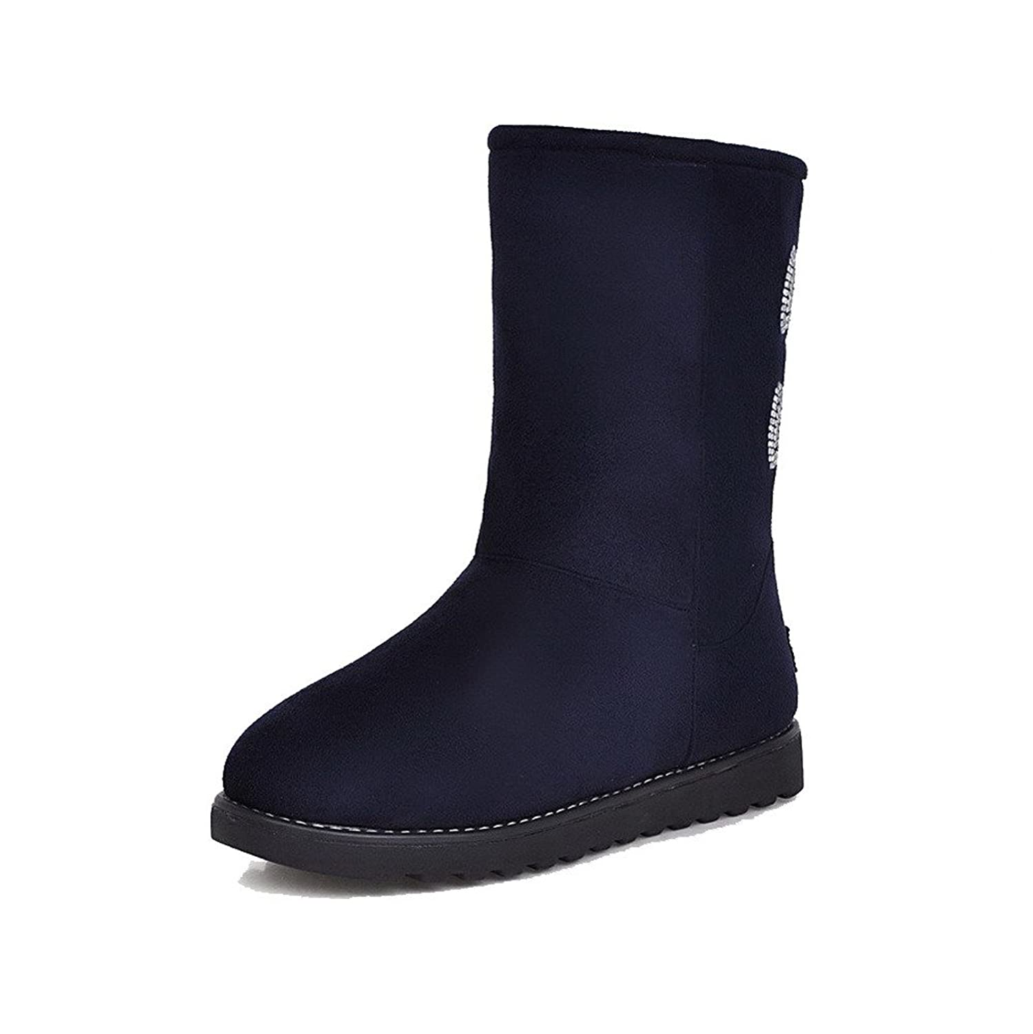VogueZone009 Women's Imitated Suede Low-top Solid Pull-on Low-Heels Snow-Boots