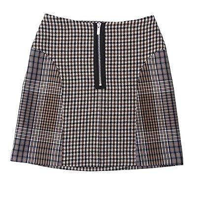 UNIQUEWHO Women's High Waist Wool Blend Zipper Plaid A-Line Mini Short Skirt