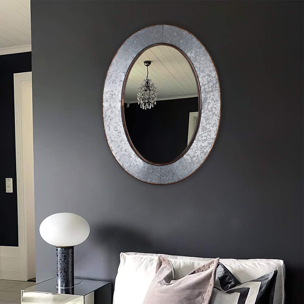 Geloo Bathroom Mirrors Industrial Galvanized - 28 Inch Oval Wall Mirrors, Gray Farmhouse Mirrors Wall Mounted,Vanity Mirror for Wall Decor Design for Bedroom, Street, Antique, Entryway: Furniture & Decor
