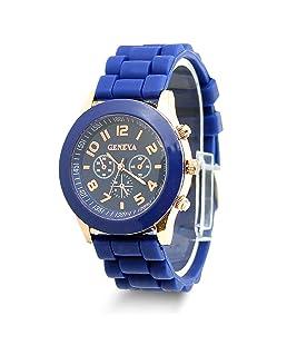 HeroNeo Classic Womens Girls Geneva Silicone Jelly Gel Quartz Analog Sports Wrist Watch (Royal Blue)