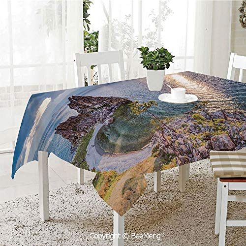 BeeMeng Spring and Easter Dinner Tablecloth,Shaman Rock Lake Baikal in Russia Coastal Theme Sun Rays Scenic Vista,Green Brown Blue59 x 83 inches (Best Food South Lake Union)