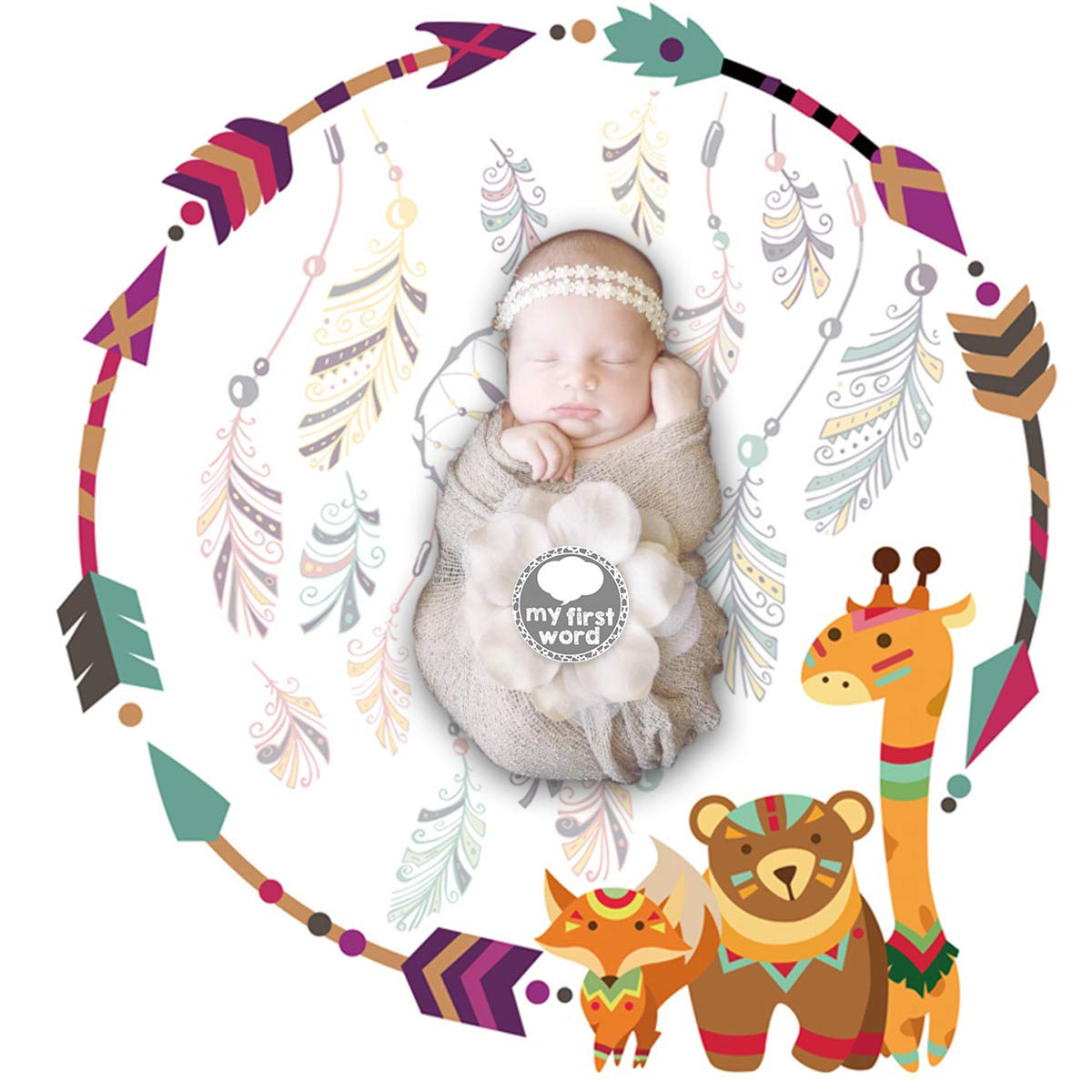 Owlike UPSTONE Unisex Baby Monthly Milestone Blanket with 12 Achievement Stickers,Monthly Photography Backdrop Blankets Newborn Baby Shower Gifts