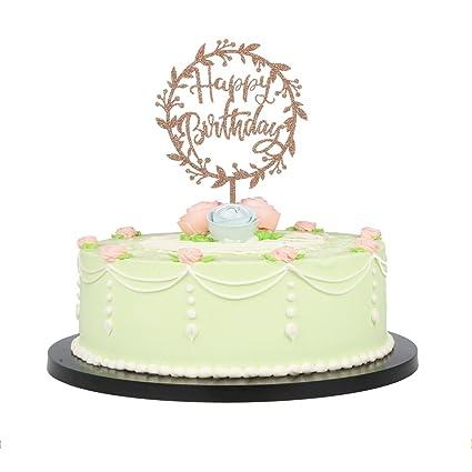 Amazon Com Lxzs Bh Brown Acrylic Silhouette Happy Birthday Cake