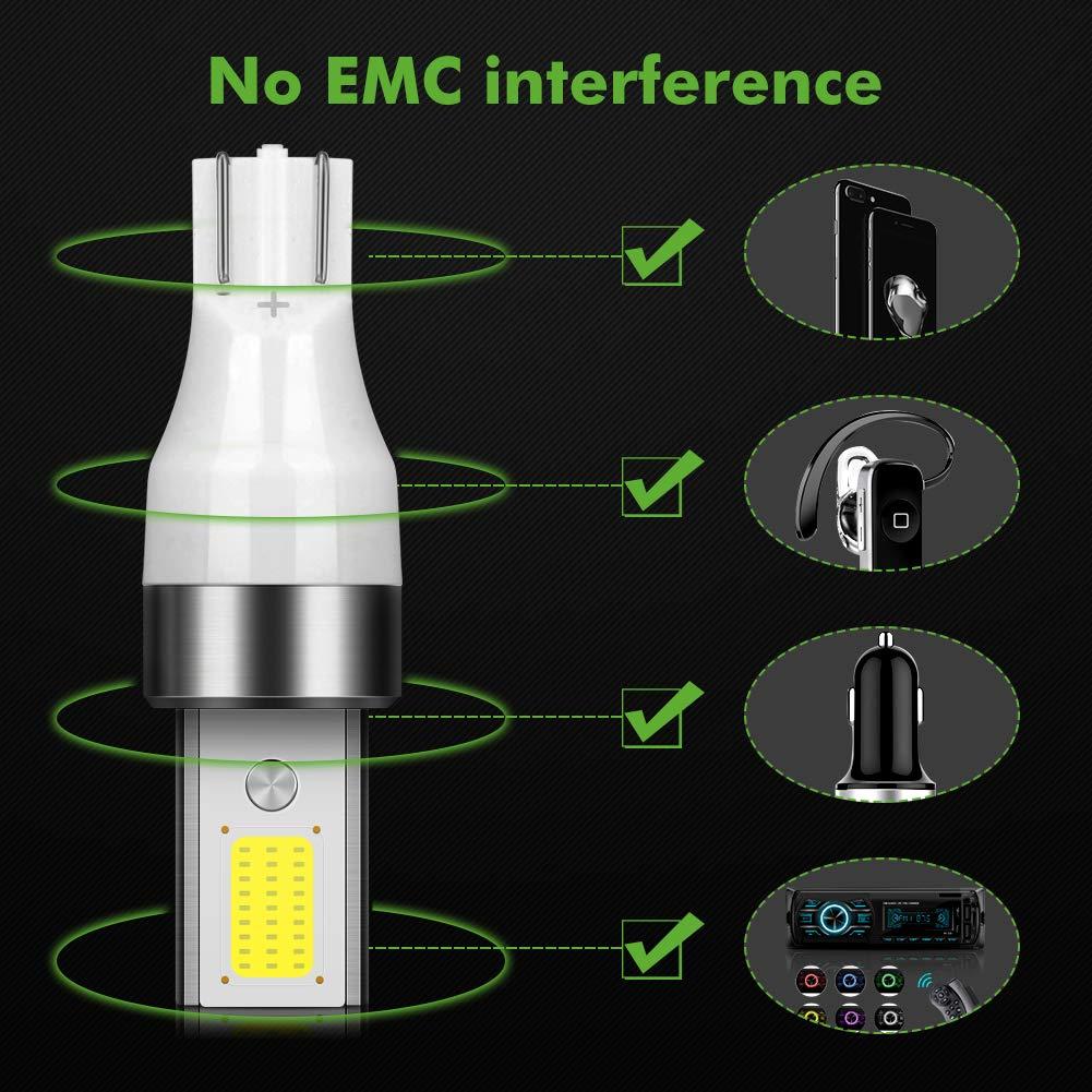POMILE 4-Pack LED T10 W5W COB 3W 400LM 6000K DC10V-16V Bombillas LED con Canbus luz de estacionamiento luces de posici/ón luz de la placa de la licencia del coche Luces de posici/ón LED