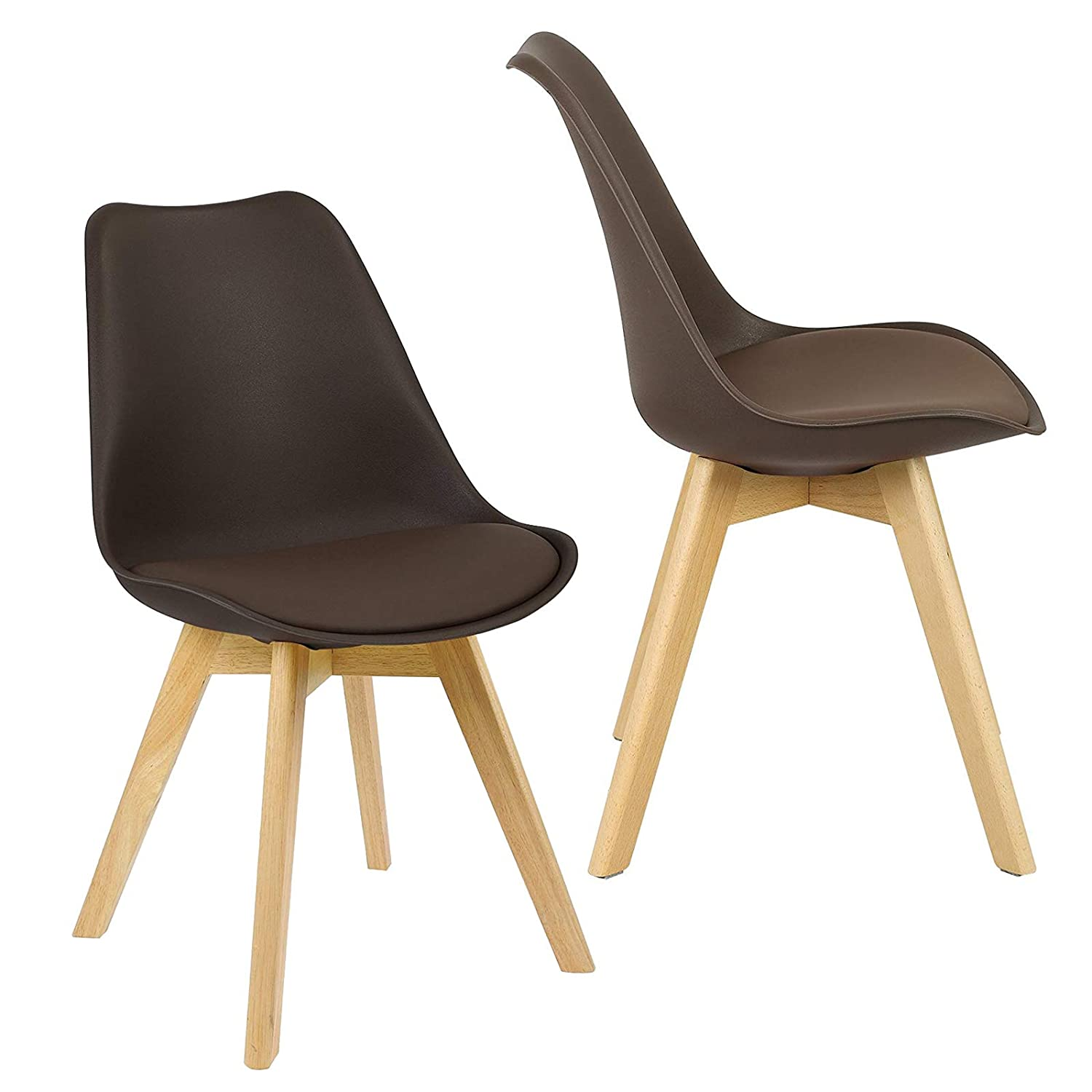 RFIVER Set of 2 Vintage Kitchen Dining Chairs with Antique Brown PU Leather Seat and Black Sturdy Metal Base for Dining Room Living Room Bedroom Lounge BS1003