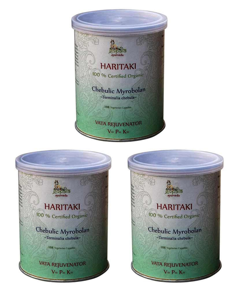 HARITAKI CAPSULES (USDA CERTIFIED ORGANIC) - 108 Vcaps (Pack of 3) - With Free Gift Samples and Expedited Delivery by Gopala Ayurveda