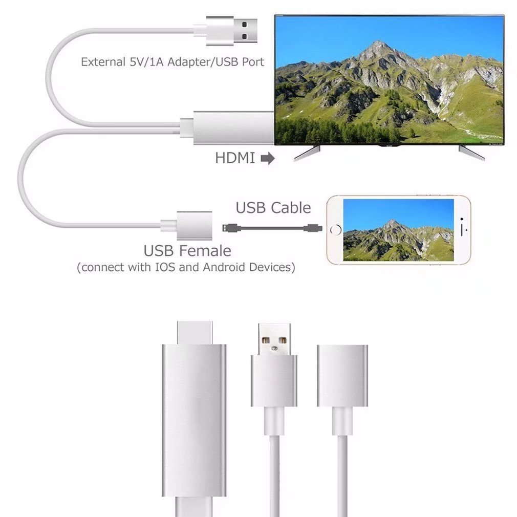 HonsCreat Lightning to HDMI Adapter Cable, 1080P MHL to HDMI Video AV Cable Connector Conversion HDTV Adapter for iPhone Android iPad and iPod