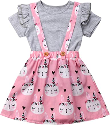 Easter Day Baby Girl Outfit Toddler Clothes Ruffle Sleeves Top Rabbit Print Floral Suspender Skirt Tutu Dress