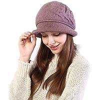 Juzzae Sombrero Bombín Térmico Fedora para Mujer Sombreros Bucket Invierno Sombreros de Iglesia Estilo Cloche Derby de…