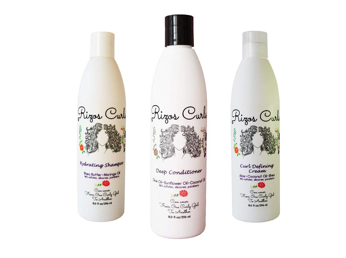 Rizos Curls Curly Hair Define Bundle Set One Hydrating Shampoo One Deep Conditioner and One Defining Cream Latina Hair Care Products