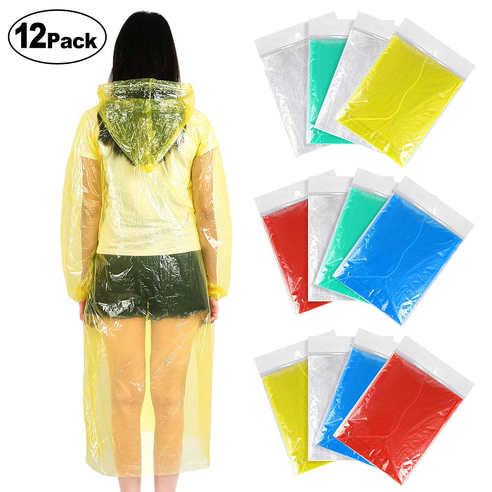 Rain Poncho, Emergency Disposable Rain Ponchos for Adults (12 Pack) with Drawstring Hood and Elastic Sleeve Ends, Portable and Disposable Rain Poncho 100% Waterproof