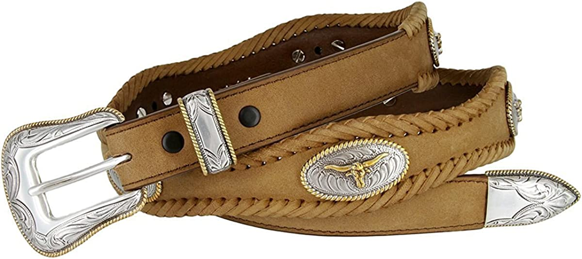 Pele Belt Men Oil-Tanned Leather Laced Silver Longhorn Concho /& Floral Buckle