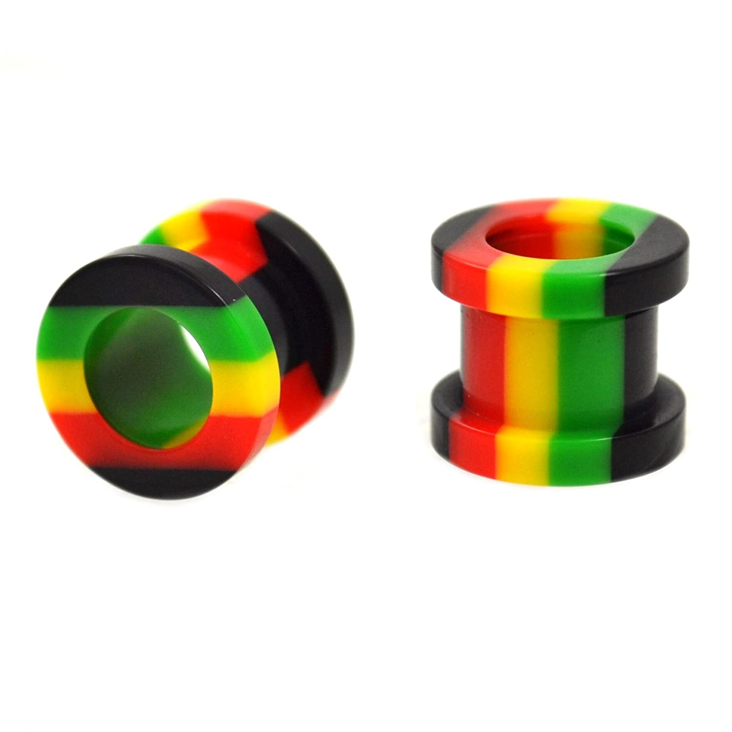 Pair (2) Rasta Jamaican Colors (Yellow, Green, Red) Acrylic Ear Plugs Screw Fit Tunnels - 0G 8MM