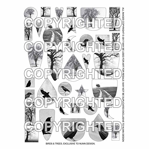 (Nunn Design Transfer Sheet, Assorted Birds and Trees, 1/2 Sheet, Black and White)
